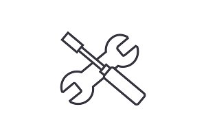 screwdriver and wrench vector line icon, sign, illustration on background, editable strokes