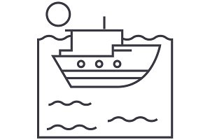 sea ship vector line icon, sign, illustration on background, editable strokes