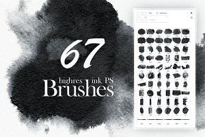 67 highres Watercolor (Ink) Brushes