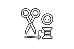 sewing,scissors, thread, needle, button vector line icon, sign, illustration on background, editable strokes