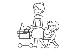 shopping grocery,mother with son and shopping cart vector line icon, sign, illustration on background, editable strokes