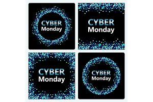 Set of luxury Cyber Monday backgrounds with blue glitter confetti banners for your decoration