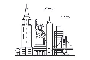 new york usa vector line icon, sign, illustration on background, editable strokes