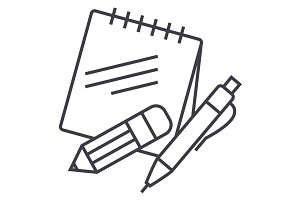 notes with pen and pencil vector line icon, sign, illustration on background, editable strokes