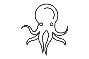 octopus vector line icon, sign, illustration on background, editable strokes
