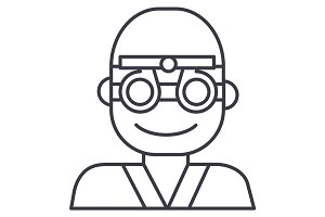 oculist,ophthalmologist,eye doctor vector line icon, sign, illustration on background, editable strokes