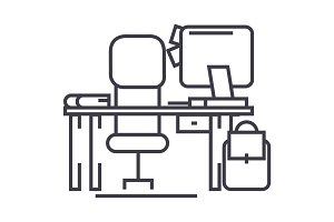 office desk with computer and chair vector line icon, sign, illustration on background, editable strokes