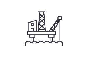 oil platform vector line icon, sign, illustration on background, editable strokes
