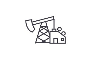 oil pump jack vector line icon, sign, illustration on background, editable strokes