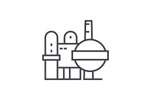 oil refinery vector line icon, sign, illustration on background, editable strokes