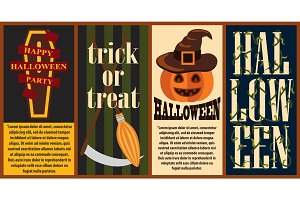 Happy Halloween Party Posters Vector Illustration