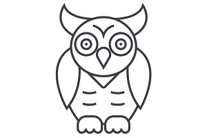 owl,wisdom vector line icon, sign, illustration on background, editable strokes