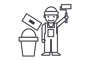 painter,builder vector line icon, sign, illustration on background, editable strokes