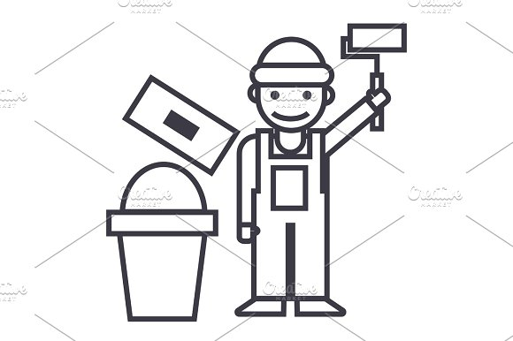 Painter Builder Vector Line Icon Sign Illustration On Background Editable Strokes