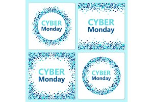Set of festive Cyber Monday backgrounds with blue confetti banners for your decoration