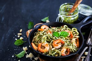 Prawns and pesto pasta