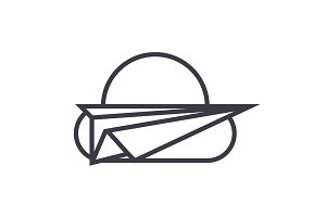 paper plane,freedom vector line icon, sign, illustration on background, editable strokes