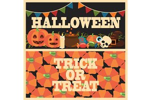 Halloween Trick or Treat on Vector Illustration