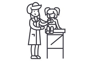 pediatrician doctor,woman doctor doing medical examination of young girl baby with stethoscope  vector line icon, sign, illustration on background, editable strokes