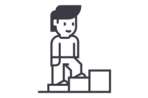 personal growth,man stairs up vector line icon, sign, illustration on background, editable strokes