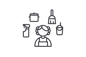 personal maid,houskeeping woman,cleaning service vector line icon, sign, illustration on background, editable strokes