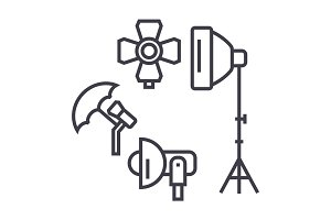 Photo Studio, Lighting Equipment vector line icon, sign, illustration on background, editable strokes