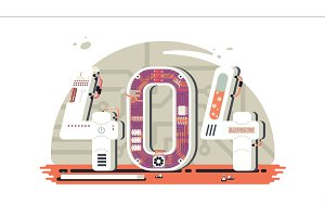 Page not found error 404 vector concept with robots and machinery.