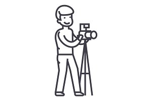 photographer with camera and tripod,photo studio vector line icon, sign, illustration on background, editable strokes