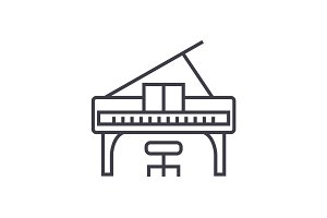 piano concert vector line icon, sign, illustration on background, editable strokes