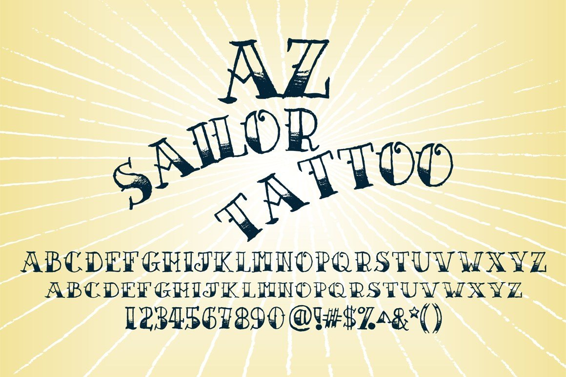AZ Sailor Tattoo Serif Fonts Creative Market