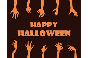 Happy Halloween Banner Hands Vector Illustration