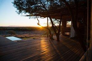 Porch against landscape