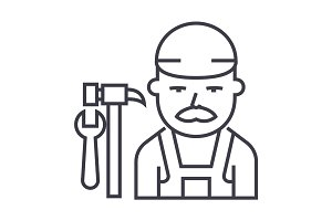 plumber vector line icon, sign, illustration on background, editable strokes