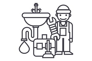 plumber service,tools,sink vector line icon, sign, illustration on background, editable strokes