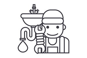 plumbing service vector line icon, sign, illustration on background, editable strokes