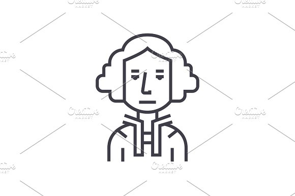 president usa,washington,judje vector line icon, sign, illustration on background, editable strokes