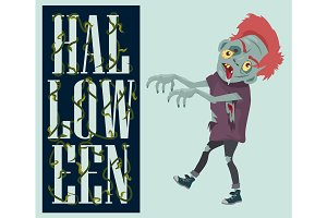 Halloween Night Spooky Zombie Vector Illustration