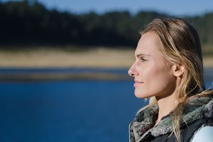 Close up of thoughtful female hiker looking away