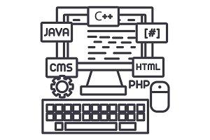 programming,coding,wed developer vector line icon, sign, illustration on background, editable strokes