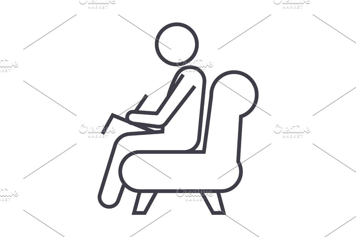 psychologist,consultant  vector line icon, sign, illustration on background, editable strokes in Objects - product preview 8