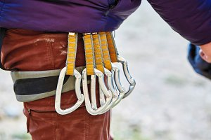 quick-draws on the  climber's harness