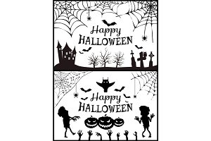 Happy Halloween Posters Set Vector Illustration