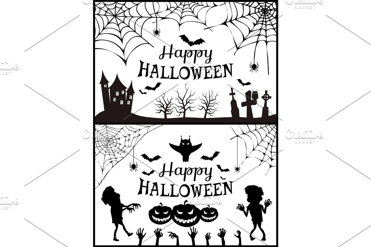 Happy Halloween Posters Set Vector Illustration in Objects - product preview 8
