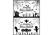 Happy Halloween Posters Set Vector Illustration