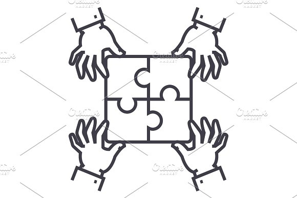 puzzle pieces,strategy vector line icon, sign, illustration on background, editable strokes