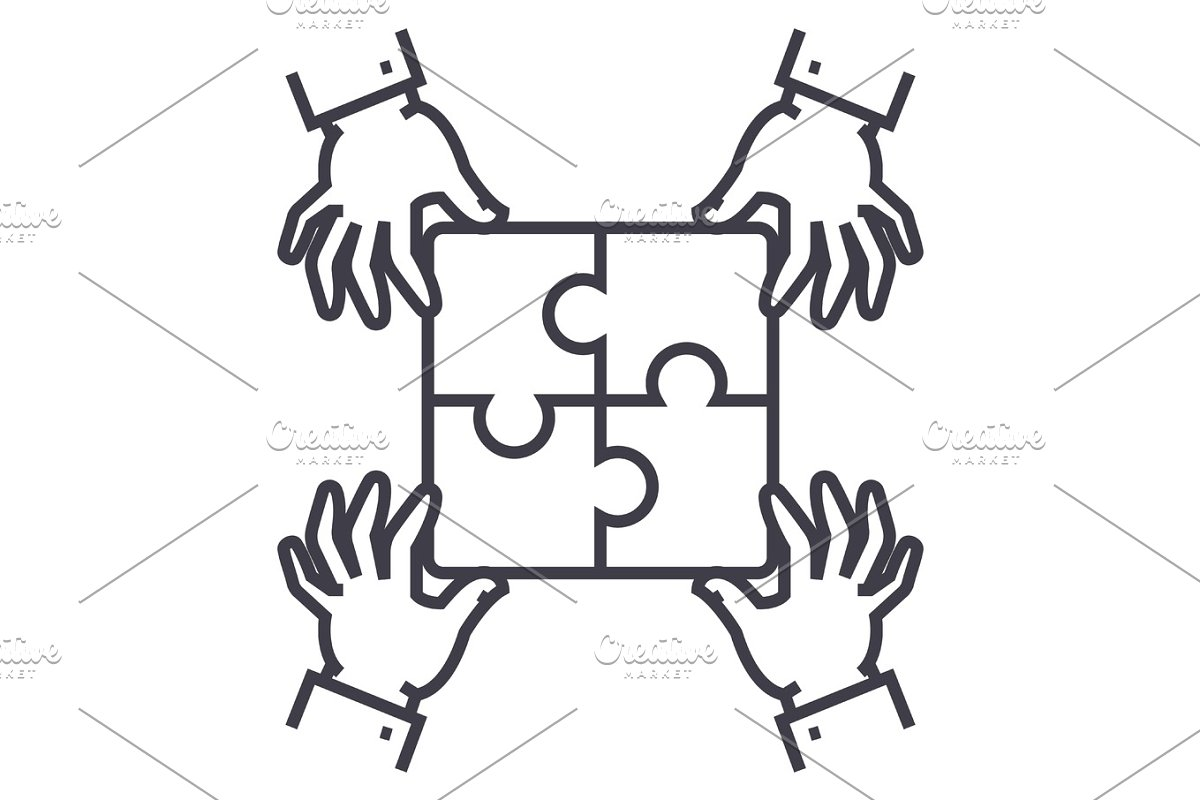puzzle pieces,strategy vector line icon, sign, illustration on background, editable strokes in Objects - product preview 8