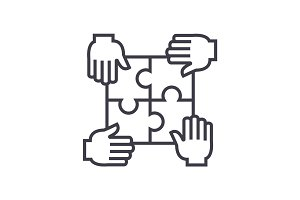 puzzle with four hands,partnership vector line icon, sign, illustration on background, editable strokes