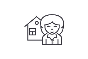 realtor vector line icon, sign, illustration on background, editable strokes