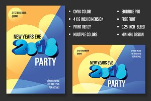 2018 New Years Minimal Party Flyer