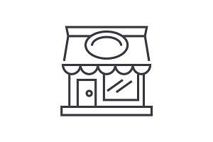 restaurant building vector line icon, sign, illustration on background, editable strokes